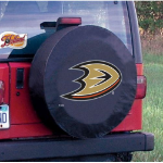 Anaheim Tire Cover with Ducks Logo on Black Vinyl