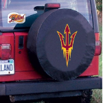 Arizona State Tire Cover with Sun Devils Pitchfork Logo on Black