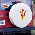Arizona State Tire Cover with Sun Devils Pitchfork Logo on White