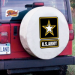 United States Army Tire Cover on White Vinyl