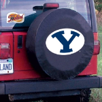 Brigham Young Tire Cover with Cougars Logo on Black Vinyl