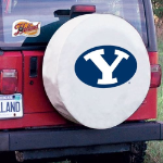 Brigham Young Tire Cover with Cougars Logo on White Vinyl