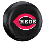 Cincinnati Tire Cover with Reds Logo on Black Vinyl - Standard