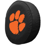 Clemson Tire Cover with Tigers Logo on Black Vinyl
