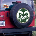 Colorado State Tire Cover with Rams Logo on Black Vinyl