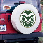 Colorado State Tire Cover with Rams Logo on White Vinyl