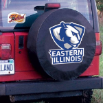 Eastern Illinois Tire Cover with Panthers Logo on Black Vinyl