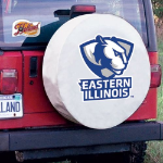 Eastern Illinois Tire Cover with Panthers Logo on White Vinyl