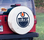 Edmonton Tire Cover with Oilers Logo on White Vinyl