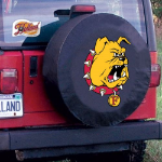 Ferris State Tire Cover with Bulldogs Logo on Black Vinyl