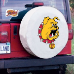 Ferris State Tire Cover with Bulldogs Logo on White Vinyl