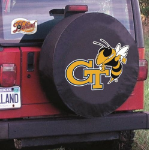 Georgia Tech Tire Cover with Yellow Jackets Logo on Black