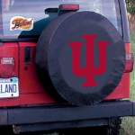 Indiana Tire Cover with Hoosiers Logo on Black Vinyl