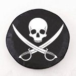 Jolly Roger Clean Tire Cover on Black Vinyl