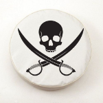 Jolly Roger Clean Tire Cover on White Vinyl