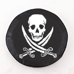 Jolly Roger Rough Tire Cover on Black Vinyl