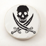 Jolly Roger Rough Tire Cover on White Vinyl