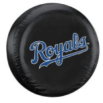Kansas City Tire Cover with Royals Logo on Black Vinyl - Standard