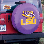 LSU Tire Cover with Tigers Logo on Purple Vinyl