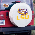 LSU Tire Cover with Tigers Logo on White Vinyl