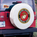 United States Marines Tire Cover on White Vinyl