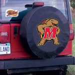 Maryland Tire Cover with Terrapins Logo on Black Vinyl
