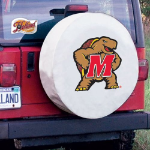 Maryland Tire Cover with Terrapins Logo on White Vinyl