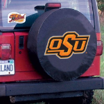 Oklahoma State Tire Cover with Cowboys Logo on Black Vinyl