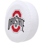 Ohio State Tire Cover with Buckeyes Logo on White Vinyl