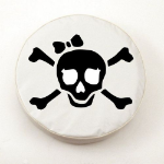 Jolly Roger Girl Tire Cover on White Vinyl