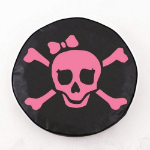 Jolly Roger Girl Tire Cover with Pink Logo on Black Vinyl