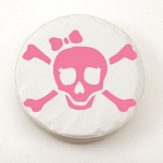 Jolly Roger Girl Tire Cover with Pink Logo on White Vinyl