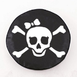 Jolly Roger Girl Tire Cover on Black Vinyl