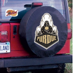 Purdue Tire Cover with Boilermakers Logo on Black Vinyl