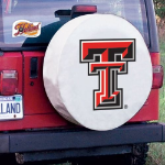 Texas Tech Tire Cover with Red Raiders Logo on White Vinyl