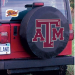 Texas A&M Tire Cover with Aggies Logo on Black Vinyl