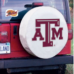 Texas A&M Tire Cover with Aggies Logo on White Vinyl