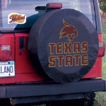 Texas State Tire Cover with Bobcats Logo on Black Vinyl