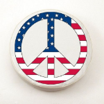 USA Peace Sign Tire Cover on White Logo on White Vinyl