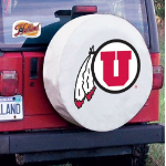 Utah Tire Cover with Utes Logo on White Vinyl