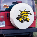 Wichita State Tire Cover with Shockers Logo on White Vinyl