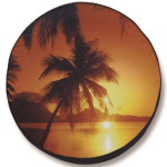 Tropical Beach Sunset Tire Cover on Black Vinyl