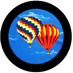 Up and Away Balloons Tire Cover on Black Vinyl