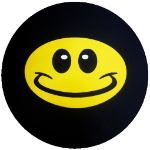 Wild Smiley Tire Cover on Black Vinyl