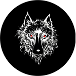 Wolf Tire Cover on Black Vinyl