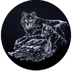 Wolf Outline Tire Cover on Black Vinyl