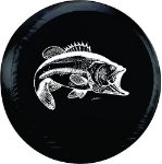 Bass Fishing Tire Cover on Black Vinyl