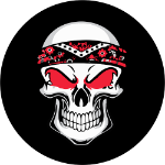 Biker Skull Tire Cover on Black Vinyl
