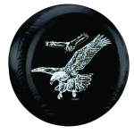 Flying Eagles Tire Cover on Black Vinyl