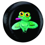 Frog Tire Cover on Black Vinyl